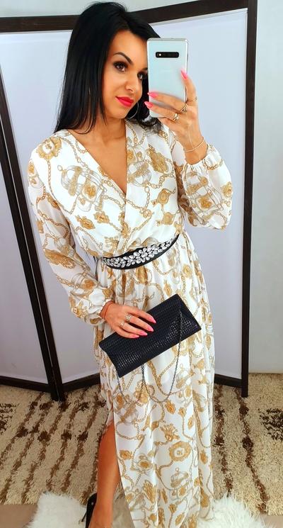 Sukienka Maxi White/gold