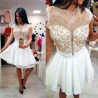 sukienka elegant white-gold